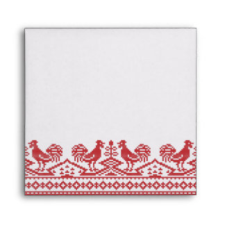 Red Rooster cross-stitch Envelope