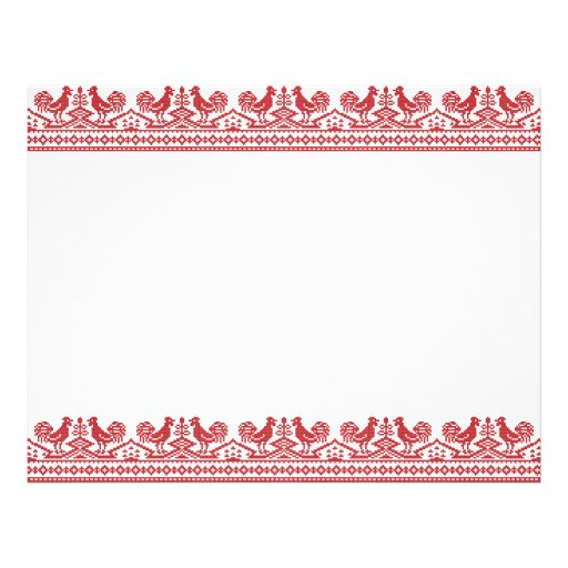 Red Rooster cross-stitch Letterhead