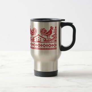 Red Rooster cross-stitch Travel Mug