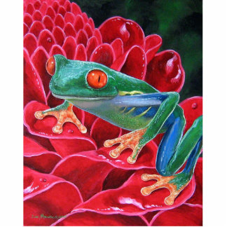 Red Rooster Frog Hibiscus Photo Sculpture - Multi