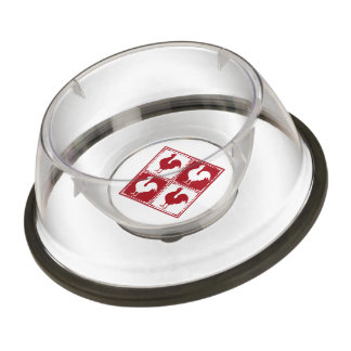 Red Rooster Gingham Pattern Pet Bowl