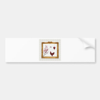 Red Rooster, Lantern and Plum Tree in Gold Frame, Bumper Sticker