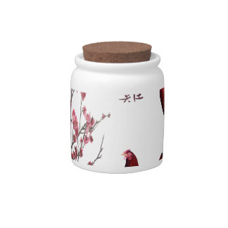 Red Rooster, Lantern and Plum Tree in Gold Frame, Candy Jars