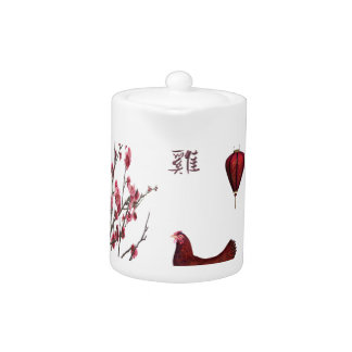 Red Rooster, Lantern and Plum Tree in Gold Frame, Teapot