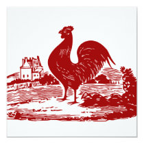 Red Rooster Old Farmhouse Vintage Invitation