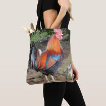 Red rooster tote bag