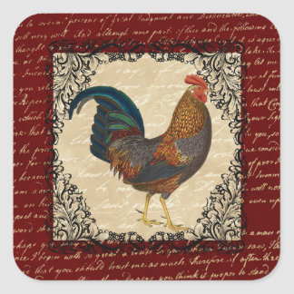 Red Rooster Vintage Square Sticker