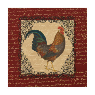 Red Rooster Vintage Wood Wall Art