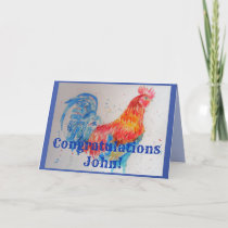 Red Rooster Watercolour Congratulations Card