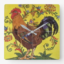 Red Rooster Yellow Chicken Folk Tile Clock Floral