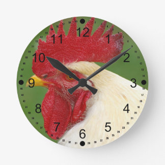 Red Rooster's Comb Country Rooster Gifts Round Clock