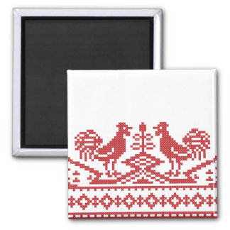 Red Roosters cross-stitch Russian Pattern 2 Inch Square Magnet