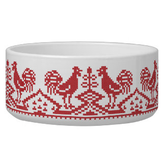 Red Roosters cross-stitch Russian Pattern Bowl