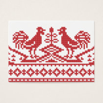 Red Roosters cross-stitch Russian Pattern Business Card