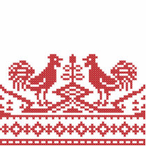 Red Roosters cross-stitch Russian Pattern Cutout