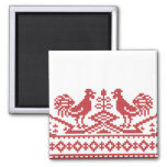 Red Roosters cross-stitch Russian Pattern Magnets