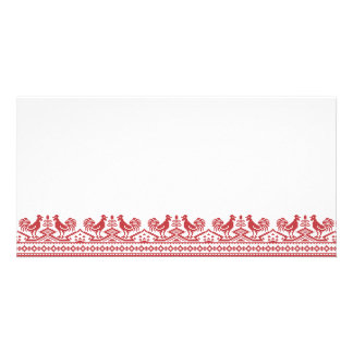 Red Roosters cross-stitch Russian Pattern Photo Card