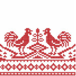 Red Roosters cross-stitch Russian Pattern Acrylic Cut Out