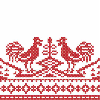Red Roosters cross-stitch Russian Pattern Standing Photo Sculpture