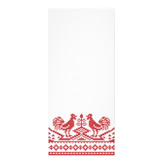 Red Roosters cross-stitch Russian Pattern Rack Card