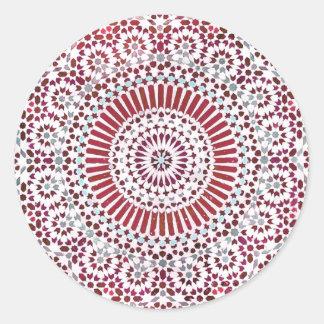 red root chakra circle mosaic round sticker