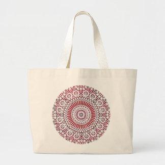 red root chakra mosaic circle design canvas bag