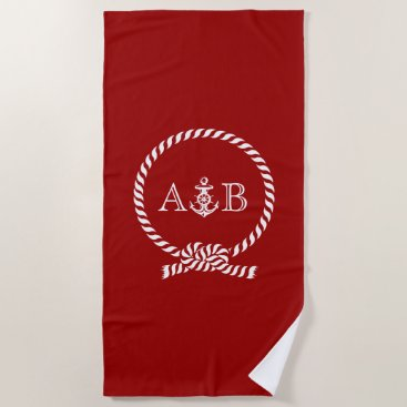 Beach Themed Red Rope and Anchor Monogrammed Beach Towel