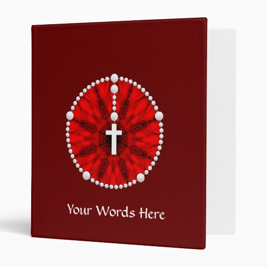 Red Rosary Dream Catcher 3 Ring Binder