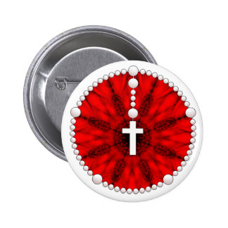 Red Rosary Dream Catcher Pinback Button