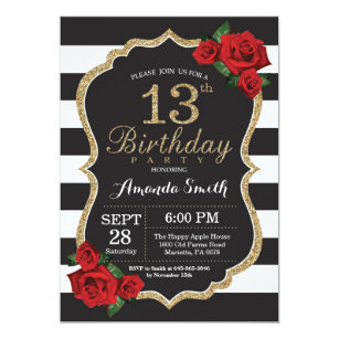 13th birthday invitations zazzle red rose 13th birthday invitation gold glitter filmwisefo