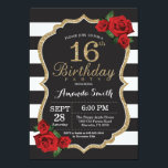 "Red Rose 16th Birthday Invitation Gold Glitter<br><div class=""desc"">Red Rose 16th Birthday Invitation Gold Glitter. Black and Gold Birthday Party Invite. Gold Glitter. Black and White Stripes. Chalkboard. Printable Digital. For further customization,  please click the &quot;Customize it&quot; button and use our design tool to modify this template.</div>"