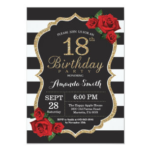 Red Rose 18th Birthday Invitation Gold Glitter