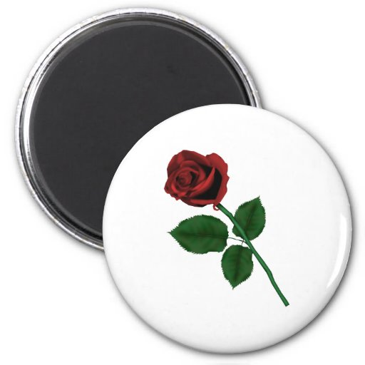 Red Rose 2 Inch Round Magnet