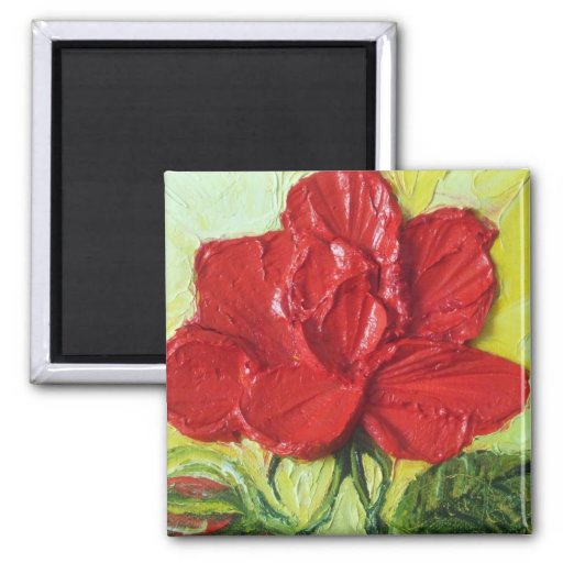 Red Rose 2 Inch Square Magnet