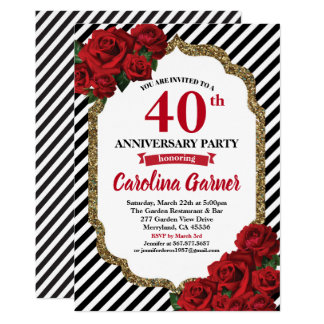Red rose 40th anniversary party invitation wedding