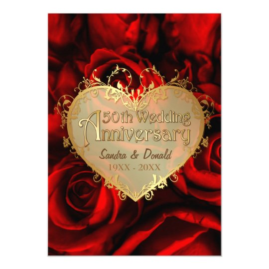 Red Rose 50th Wedding Anniversary Card