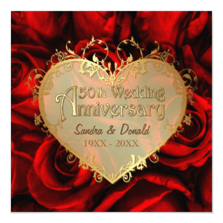 Red Rose 50th Wedding Anniversary -Square ver. 2 Card
