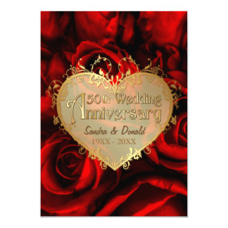 Red Rose 50th Wedding Anniversary -ver. 2 Card