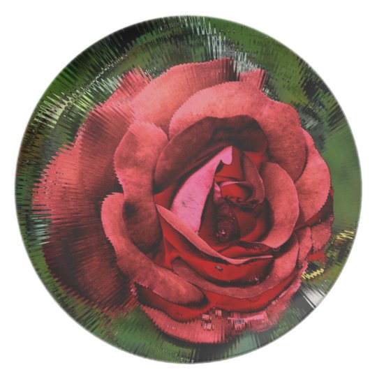 Red Rose Abstract Floral Decorative Plate