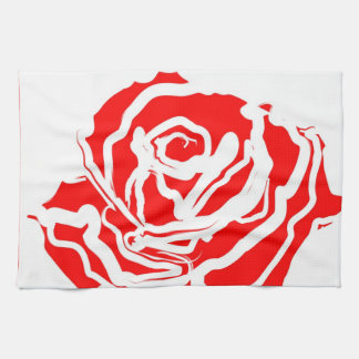 Red Rose Abstract Hand Towels