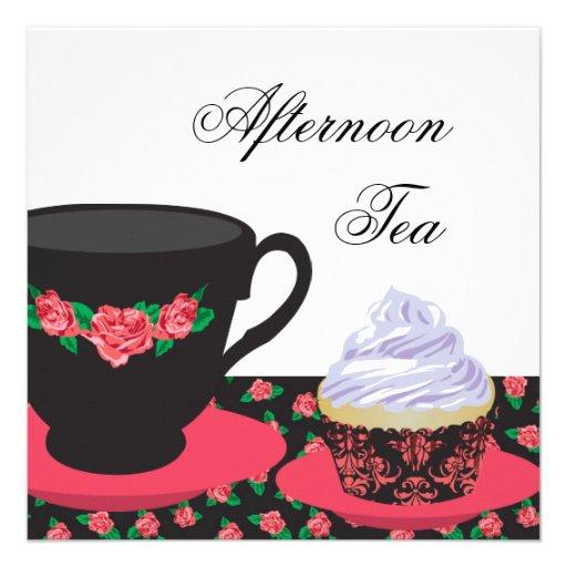 Red Rose Afternoon Tea Custom Invites