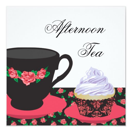 """Red Rose Afternoon Tea 5.25"""" Square Invitation Card"""