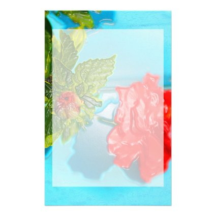 red rose against blue plastic wrap style personalized stationery