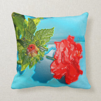red rose against blue plastic wrap style throw pillow