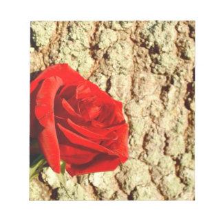 Red Rose against oak tree bark image Memo Note Pads
