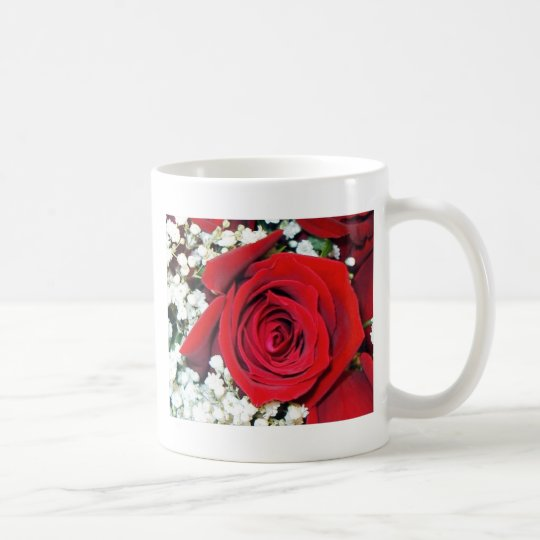 Red rose and Baby's breath on a classic cup. Coffee Mug