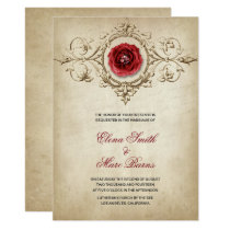 Red Rose And Beige Ornament Card