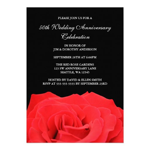 Red Rose and Black 50th Wedding Anniversary Personalized Invite