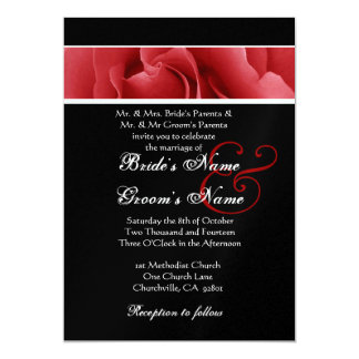 Red Rose and Black Background  Wedding 5x7 Paper Invitation Card