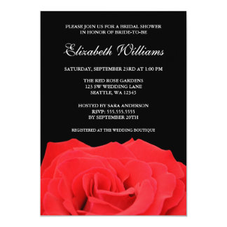 Red Rose and Black Bridal Shower Card